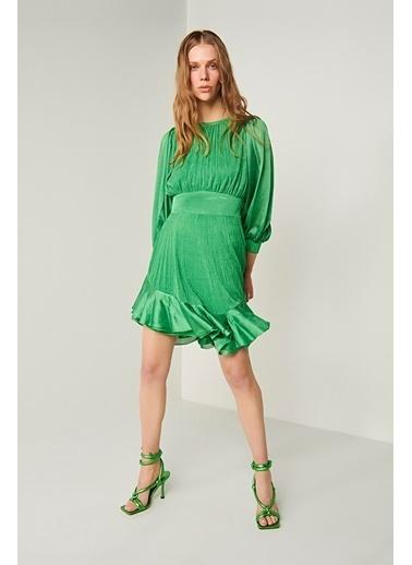 Join Us Balon Kol Volanlı Astarlı Triko Elbise Yeşil